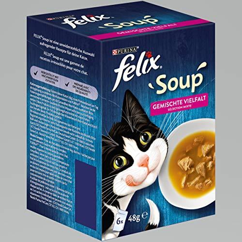FELIX Soup, Suppe für Katzen mit zarten Stückchen, Sorten-Mix, 8er Pack (8 x 6 Beutel à 48g)
