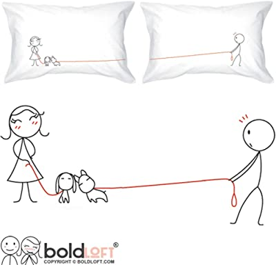 BoldLoft We Belong Together Couples Pillowcases-Couples Gifts for Boyfriend Girlfriend Husband Wife Anniversary Cotton Anniversary Wedding Engagement Bridal Shower Fiance Just Because|Dog Lover Gifts