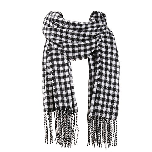 White Check Scarf - SOJOS Womens Plaid Scarf Large Long Blanket Check Wrap Shawl with Tassel SC315 with Black&White Plaid
