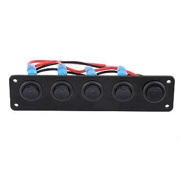 Blue 12-24V 5 Gang Round Dash Rocker Toggle Switch Panel Blue LED for RV Boat Marine