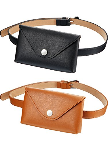 Leather Belt Bag - Tatuo 2 Pieces Women's Leather Belt Fanny Pack with Removable Belt Fashion Waist Pouch Belt Bags, Coffee and Black