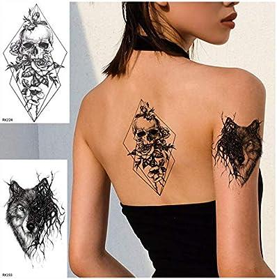 ruofengpuzi Adesivo tatuaggioDurable Negro Geométrico Cráneo De La ...