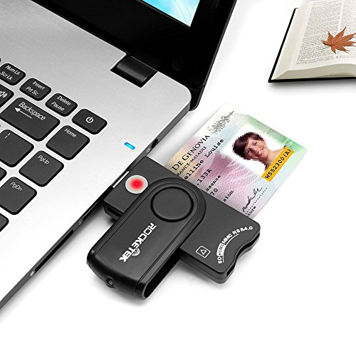 USB Smart Card Reader, Rocketek DOD Military USB CAC Memory Card Reader  compatible with Windows, Linux/Unix, MacOS X - Build in SDHC/SDXC/SD Card