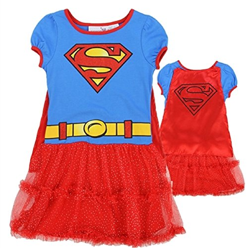 Dc Comics Dress (DC Comics Little Girls' Supergirl Dress with Cape (6))