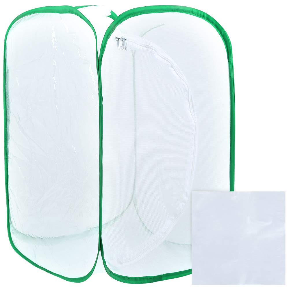 Pllieay 35.5 Inch Tall Large Butterfly Habitat Cage with Clear PVC Film, Collapsible Terrarium Pop-up White Insect and Butterfly Net for Raising and Outdoor Activities