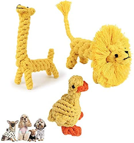 3 Pack Dog Rope Toys, Pet Puppy Chew Toys for Teething Boredom Dogs Rope Ball Knot Training Teeth Dogs Treats Toys Dog Gifts(Duck, Lion,Deer)