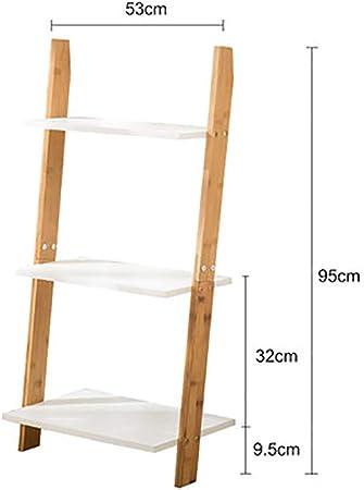 MShelf Blanco Escalera Estantería, Bambú Almacenamiento Estante Unidad Piso Pie Pared Soporte De La Flor Rack para Sala De Estar, Dormitorio-b 3 Nivel: Amazon.es: Hogar