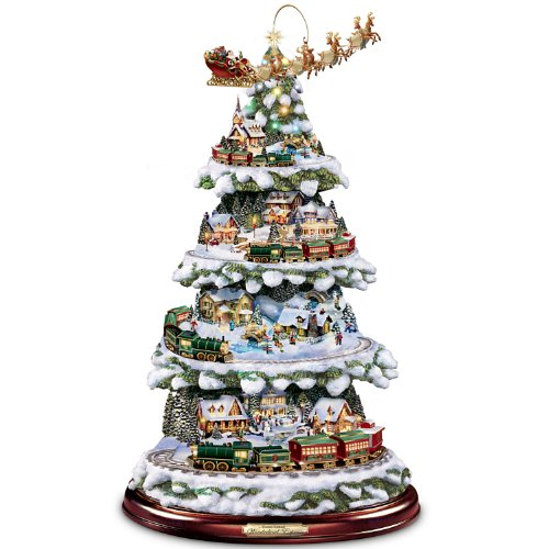 Kinkade Ornaments Bradford - Bradford Exchange Thomas Kinkade Animated Tabletop Christmas Tree With Train: Wonderland Express by The