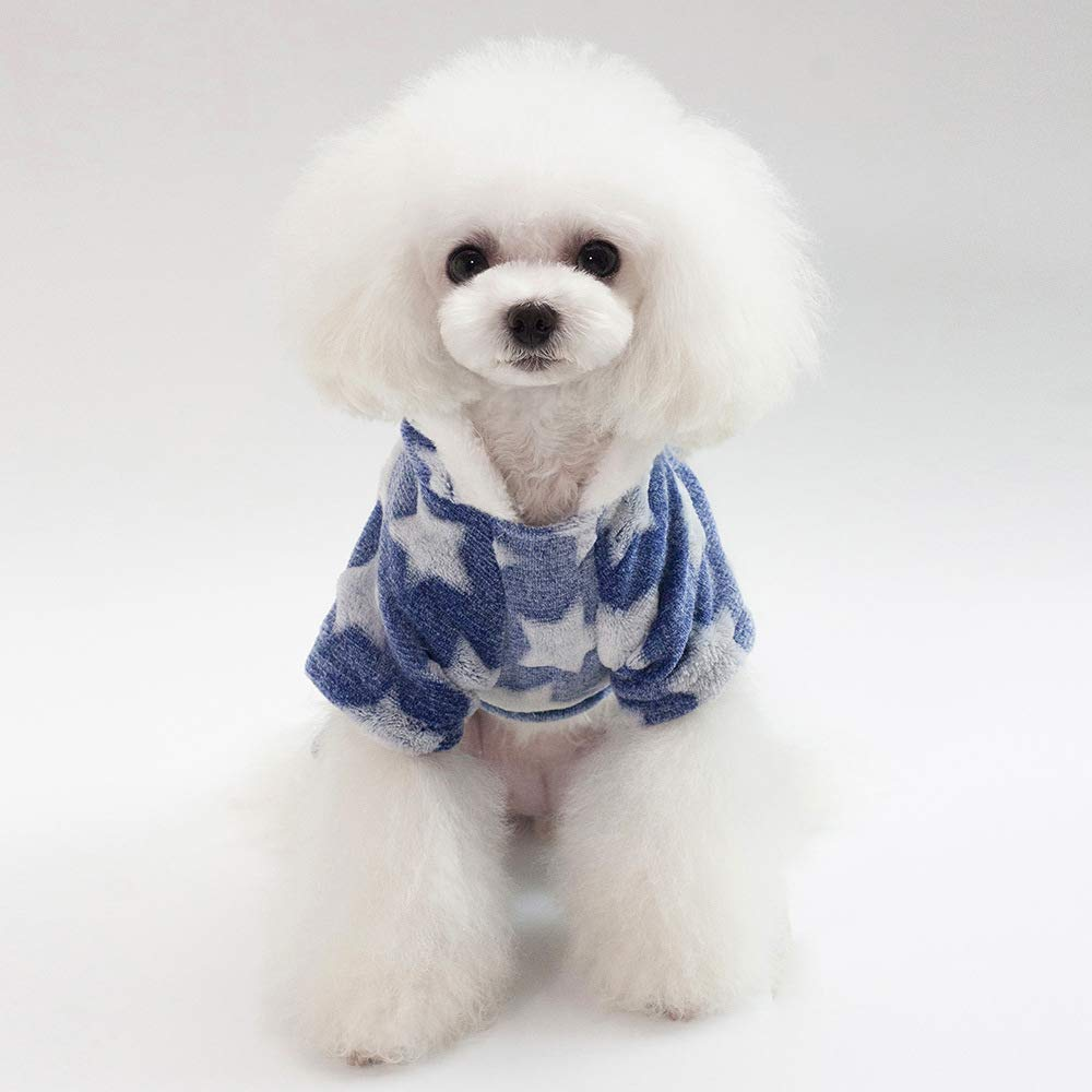 bluee M bluee M Party Pet Costume Pet Clothes New Stars Four Legs Fleece Thickening Autumn and Winter Models Teddy Bears Dog Clothes (color   Pink, Size   M) Pet Uniform (color   bluee, Size   M)