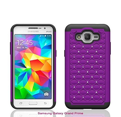 Samsung Galaxy Grand Prime LTE G530 Case - Defender Bling Hybrid Gel Protector Diamond Hybrid - Slim Impact Resistant Rhinestone Armor [Drop Protection / Shock-Absorption] - Purple (Rubberized Purple Rhinestones)