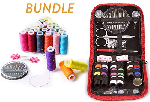 SEWING KIT and Sewing Set with 24-color Threads BUNDLE- for All-Purpose Sewing Repairs at Home & in the Office. Complete Sew Kit with Mixed Color Threads for Sewing Machine. Red & Multicolored by VelloStar