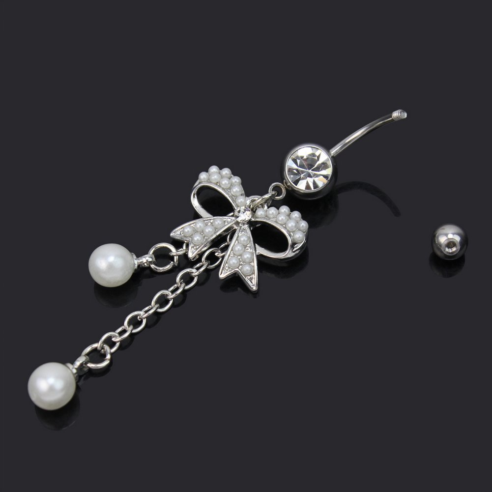 Amazon.com: ReFaXi® Elegante Lindo Mariposa Bow Pearl Dangle ...