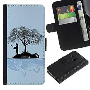 """A-type (Gran pez"""") Colorida Impresión Funda Cuero Monedero Caja Bolsa Cubierta Caja Piel Card Slots ParaSamsung Galaxy S3 MINI i8190 (NOT S3)"""