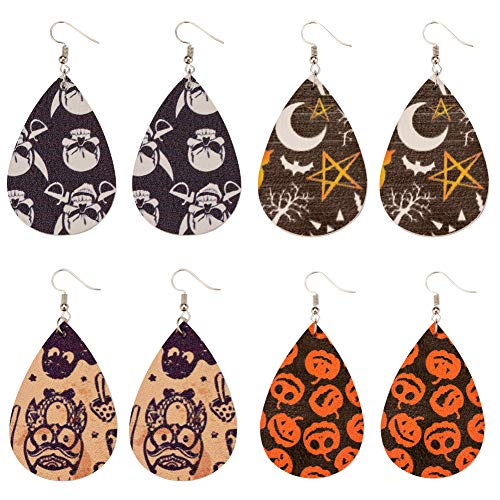 Exweup Leather Earrings Lightweight Leaf Teardrop Dangle Earrings Amazing Pattern 4 Pairs Gifts for Girls...]()