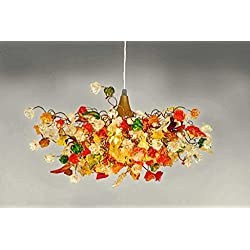Modern Chandeliers - Orange, Yellow & Green chandelier shades - hanging Lights for Bedroom & Living Room - Light Fixtures for Home and office Lighting