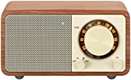 Sangean WR-7WL Wood Cabinet Mini Bluetooth Speaker with FM Tuner and Aux-in Walnut/Wood