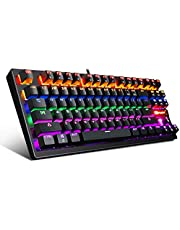 Mechanical Keyboard 87 Keys Small Compact Multicolour Backlit -Anivia MK1 Wired USB Gaming Keyboard with Blue Switches, Metal Construction, Water Resistant for Windows PC Laptop Game