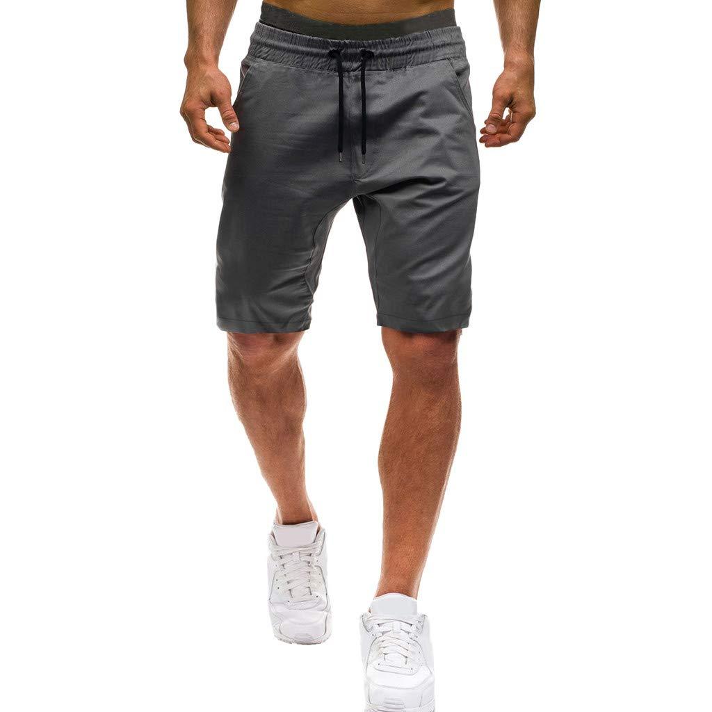 Shorts for Men, F_Gotal Men's Casual Plain Drawstring Elastic Waist Sports Pants Training Jogger Shorts Sweatpants Gray