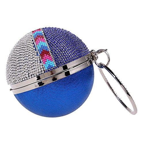 Lussuosa Silver Lato Maniglia Borsa Sera Cena Color Da Strass Frizioni Di Partito Blue Borse Diamanti Donne A Un Forma Giorno Rotonda Tutu 5UwBq0xRna