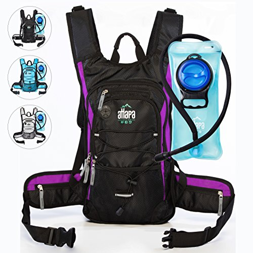 Atlapa Sports Lightweight Hydration Backpack 2L TPU Leak Proof Water Bladder Insulated Pocket Cold Storage Padded Shoulder Adjustable Straps Daypack for Hiking Skiing Running Cycling (Purple)