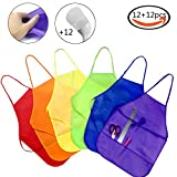 JPSOR 12Pcs Child Aprons and 12Pcs Painting Hats Kids Aprons Painting Aprons