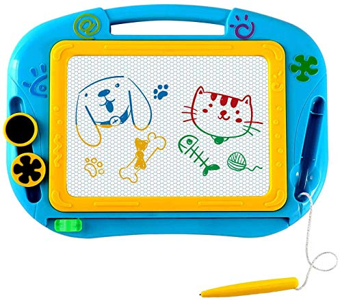 EEDAN Magnetic Magna Doodle Drawing Board for Kids - Colorful Sketch Erasable Tablet Education Writing Pad with 2 Magnet Shapes - Gift for Little Girls Boys Kids Children Travel Size (Blue)