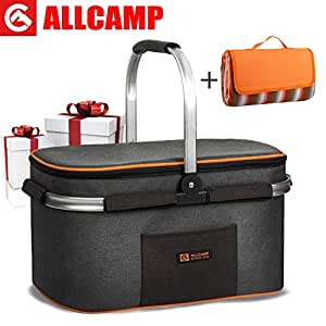 ALLCAMP Food Carriers Picnic Basket for 4 Person Insulated up to 4 Hours for Camping Outdoor Concert Sports Event (Gray)