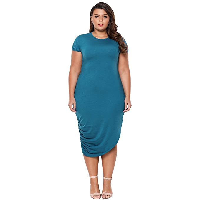 Vestidos mujeres cuello redondo manga corta falda irregular XL falda larga,blue,XL