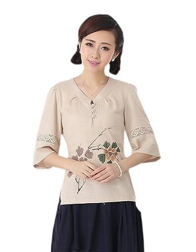 YueLian Mujeres Estilo Chino Elegante Verano Media Manga 3/4 V-cuello Camisa Camiseta Blusa Camisera...
