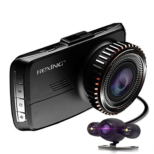 REXING HD18 Dash Cam Dual Front and Rear with 250 Degree Angle HD Dashboard Camera and Visual Reversing Function for Car Vehicle