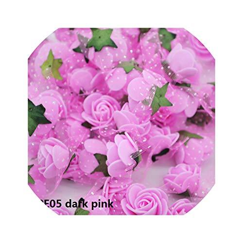 50/100 pcs 2cm Mini PE Foam Flower Fake Artificial Rose for DIY Handmade Wedding Party Decor Scrapbooking Crafts Gift Box,PE05 Dark Pink,50pcs