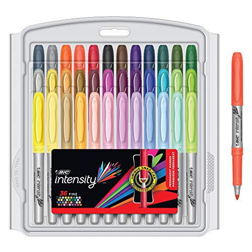BIC Intensity Fashion Permanent Markers, Fine Point, Assorted Colors, 36-Count (Bic Rubber Colored Pen)