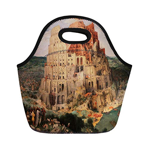 - Semtomn Lunch Bags Renaissance Tower of Babel Babylon Famous Painting By Pieter Neoprene Lunch Bag Lunchbox Tote Bag Portable Picnic Bag Cooler Bag