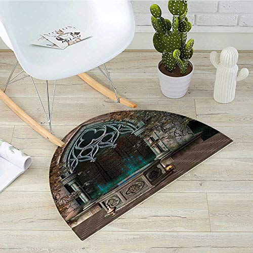 Gothic Semicircle Doormat Mystical Patio with Enchanted Wishing Well Ivy on Antique Gateway to Magical Forest Halfmoon doormats H 23.6