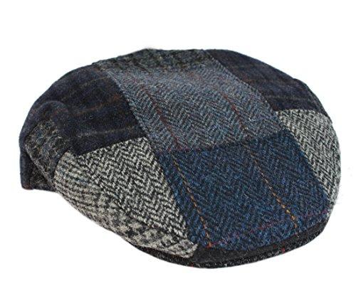 Mucros Irish Tweed Cap Patchwork Blue & Grey As Shown 100% Wool Made In (Tweed Wool Hat)