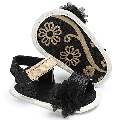 Sandalias De Bebe,BOBORA Prewalker Zapatos Primeros Pasos Para Bebe Hermosa Flor De Bebe Sandalias Princesa negro