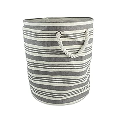 "DII, Woven Paper Bin, Collapsible and Convenient, Round, 20x15"", Urban Gray Stripe - LARGE ROUND STORAGE BINS - 20HX15D"", storage bin will hold shape once filled, constructed of woven paper with soft cotton rope handles knotted through grommets, holds up to 30 lbs ALWAYS TRENDY & STYLISH - These bins are available in fun, trendy and adorable styles and colors, a perfect addition to a nursery, home office, craft room, or to add a splash of color to any room while also being functional ORGANIZATIONAL SOLUTION FOR THE HOME - Find a place for knick knacks, children's' toys, magazines, craft supplies, and more with these sturdy, everyday bins that can be tucked away in closets, side tables, under beds, left out in the open to enhance decor, or on a shelf - living-room-decor, living-room, baskets-storage - 51M8UYm40bL. SS400  -"
