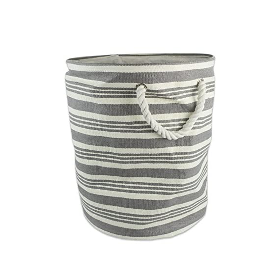 "DII Stripe Woven Paper Storage Bin, Large Round, Urban Gray - LARGE ROUND STORAGE BINS - 20HX15D"", storage bin will hold shape once filled, constructed of woven paper with soft cotton rope handles knotted through grommets, holds up to 30 lbs. ALWAYS TRENDY & STYLISH - These bins are available in fun, trendy and adorable styles and colors, a perfect addition to a nursery, home office, craft room, or to add a splash of color to any room while also being functional ORGANIZATIONAL SOLUTION FOR THE HOME - Find a place for Knick knacks, children's' toys, magazines, craft supplies, and more with these sturdy, everyday bins that can be tucked away in closets, side tables, under beds, left out in the open to enhance decor, or on a shelf - living-room-decor, living-room, baskets-storage - 51M8UYm40bL. SS570  -"