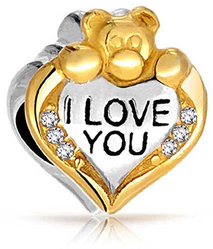 - I Love You Teddy Bear Heart CZ Charm Bead For Women 2 Tone 14K Gold Plated Sterling Silver Fits European Bracelet