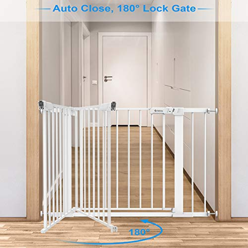 "Tokkidas Auto Close Safety Baby Gate, 29.5""-40.6"" Wide Child Gate, Easy Walk Thru Dog Gates for Doorways Stairs House, Includes 2.75"" & 5.5"" Extension Kit, 4 Pressure Mounts and 4 Wall Cups (White)"