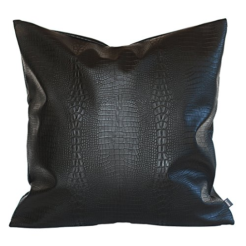 Kdays Black Crocodile Thick & Soft Faux Leather Pillow Cover Decorative For Couch Throw Pillow Case Brown Leather Cushion Cover Solid Leather Pillow 16x16 Inches