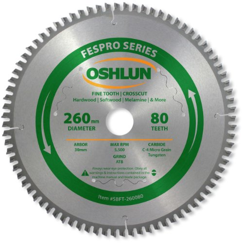 Oshlun SBFT-260080 260mm 80 Tooth FesPro Crosscut ATB Saw Blade with 30mm Arbor for Festool Kapex KS 120 (Cut Kerf Fine Thin Cross)