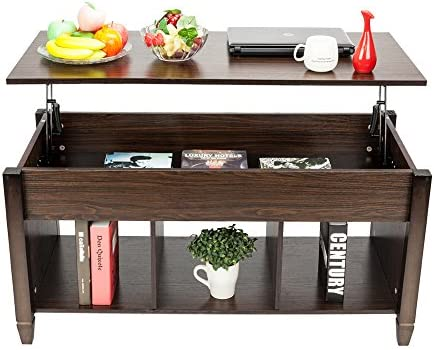 SSLine Lift Top Coffee Table with Hidden Compartment Storage Shelf, Modern Wood Home Living Room Furniture Lift Tabletop Dining Table,Computer Table,Side Table,Living Room Furniture Tea Table Brown