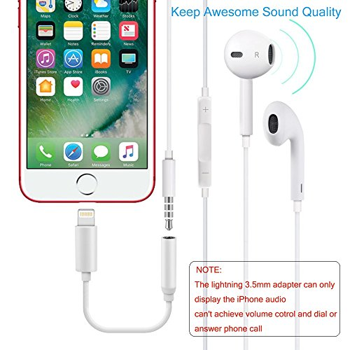 iPhone 7/7Plus Adapter Headphone Jack 2Pack,Lightning to 3.5 mm Headphone Jack Adapter for iPhone 7/7 Plus Accessories(ios 10.3)(White) by my-handy-design (Image #3)