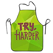 Funny Try Harder Drawing Running Skydiving Kitchen Cooking Apron