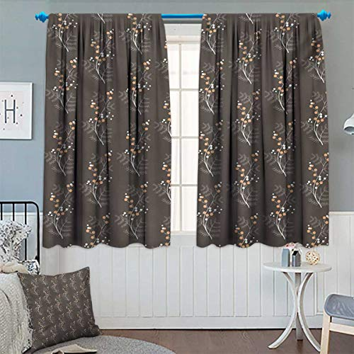 Chaneyhouse Floral Room Darkening Curtains Soft Orange and White Dotted Branches Buds Branches Spring Seasonal Pattern Customized Curtains 55