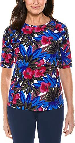 (Coolibar UPF 50+ Women's Short Sleeve Hightide Swim Shirt - Sun Protective (Medium- Multicolor Paradise)