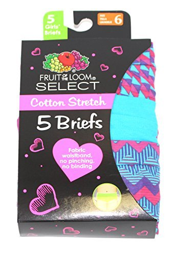 FRUIT OF THE LOOM GIRLS BRIEFS SELECT COTTON STRETCH 5 PK MANY SIZES/ COLORS (16, Blue Dark - Stretch Fruit The Panties Of Loom