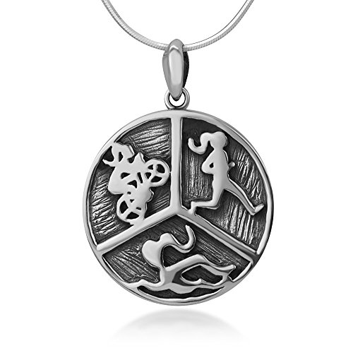 Oxidized Sterling Triathlon Swimming Necklace product image