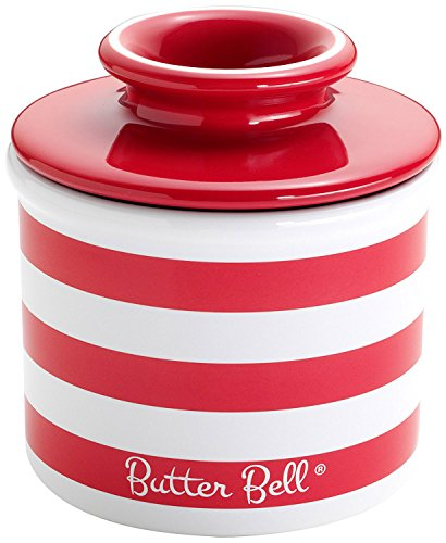 Dish Candy Bell (The Original Butter Bell Crock by L. Tremain, Striped Collection - Candy Apple Red)